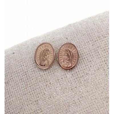 Boucles d'oreilles clous madone or rose acier inoxydable Milë Mila