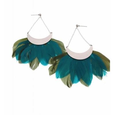 Boucles d'oreilles clous plume vert argent acier inoxydable Milë Mila