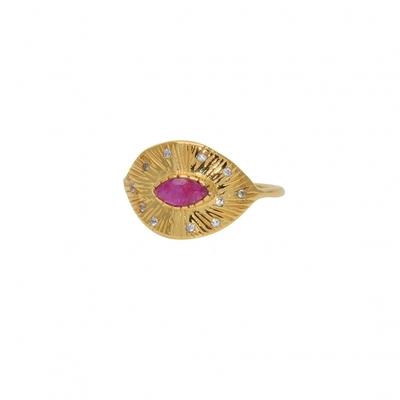 Bague dorée martelée rubis et zircons - Lucky Team