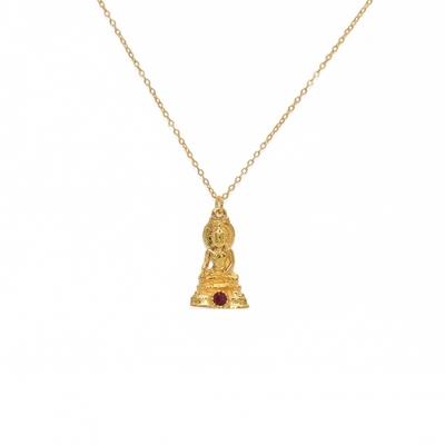 Collier doré pendentif bouddha et rubis - Lucky Team