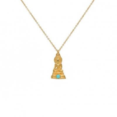 Collier doré pendentif bouddha et turquoise - Lucky Team