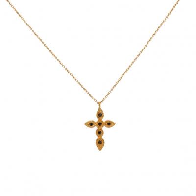 Sautoir doré croix et 6 onyx - Lucky Team