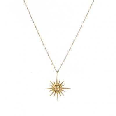 Sautoir doré étoile des 4 vents et zircons blancs - Lucky Team