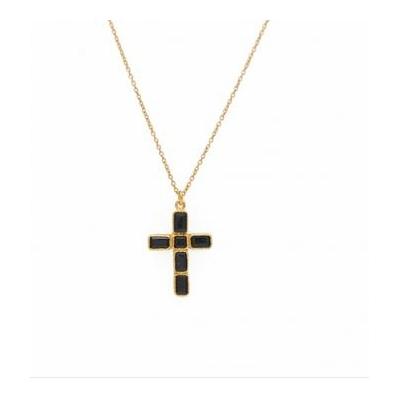 Sautoir doré pendentif croix onyx noire - Lucky Team