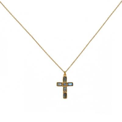 Sautoir doré pendentif croix labradorite - Lucky Team