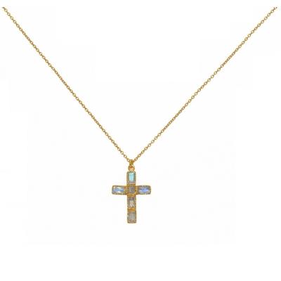 Sautoir doré pendentif croix rainbow - Lucky Team