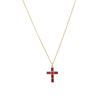 Sautoir doré pendentif croix rubis - Lucky Team