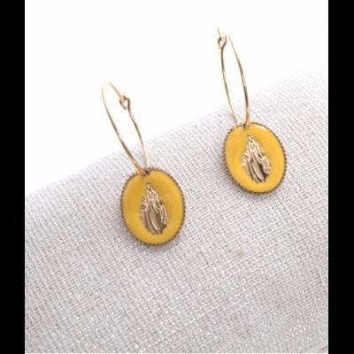 Boucles d'oreilles créole madone jaune doré acier inoxydable Milë Mila