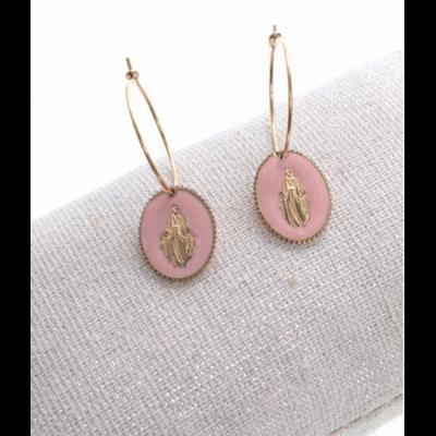Boucles d'oreilles créole madone rose doré acier inoxydable Milë Mila