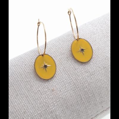 Boucles d'oreilles créole ovale étoile filante jaune doré acier inoxydable Milë Mila