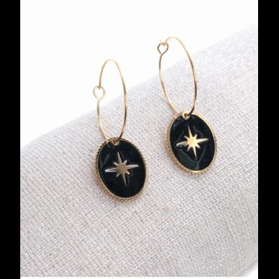 Boucles d'oreilles créole ovale étoile filante noir doré acier inoxydable Milë Mila