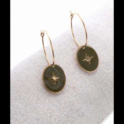 Boucles d'oreilles créole ovale étoile filante vert doré acier inoxydable Milë Mila