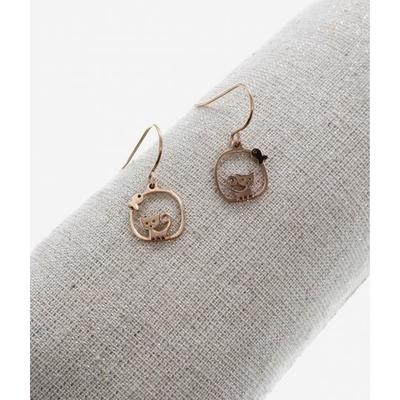 Boucles d'oreilles crochets chat poisson or rose acier inoxydable Milë Mila