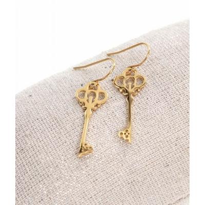 Boucles d'oreilles crochets clé doré acier inoxydable Milë Mila