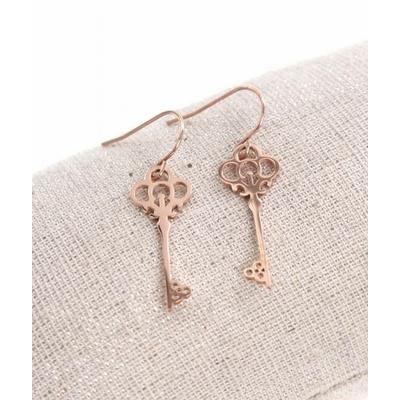 Boucles d'oreilles crochets clé or rose acier inoxydable Milë Mila
