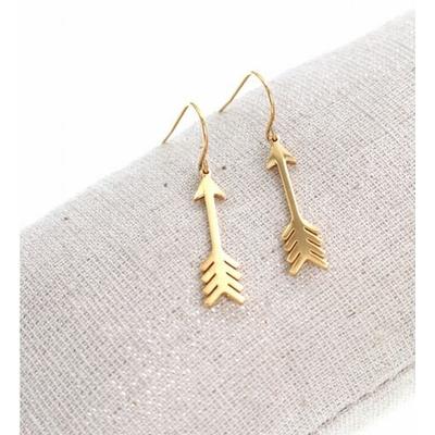 Boucles d'oreilles crochets flèche doré acier inoxydable Milë Mila