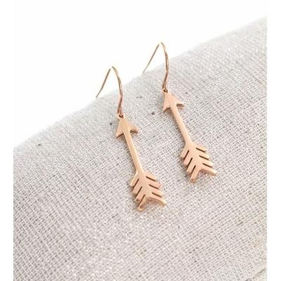 Boucles d'oreilles crochets flèche or rose acier inoxydable Milë Mila