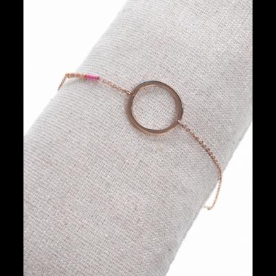 Bracelet rond perles roses or rose acier inoxydable Milë Mila