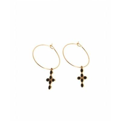 Boucle d'oreilles créole croix doré noir acier inoxydable Mile Mila
