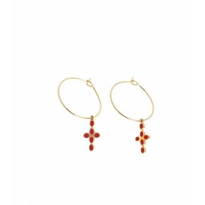Boucle d'oreilles créole croix doré rouge acier inoxydable Mile Mila