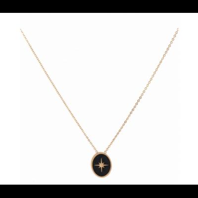 Collier médaille étoile filante fond noir doré acier inoxydable Milë Mila
