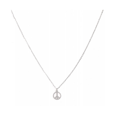Collier PEACE AND LOVE argent acier inoxydable Milë Mila