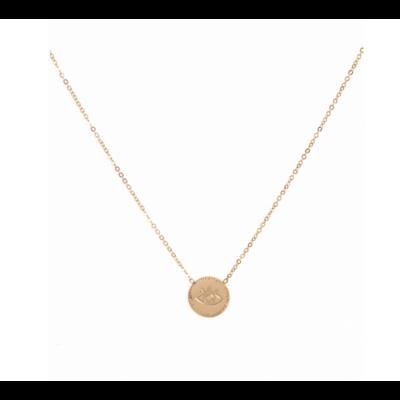 Collier médaille œil doré acier inoxydable Milë Mila
