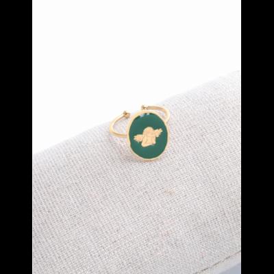Bague réglable ange fond vert doré acier inoxydable - Milë Mila