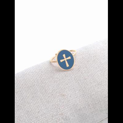 Bague réglable croix fond bleu doré acier inoxydable - Milë Mila