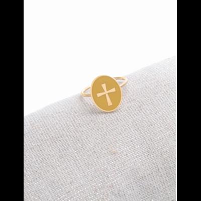 Bague réglable croix fond jaune doré acier inoxydable - Milë Mila