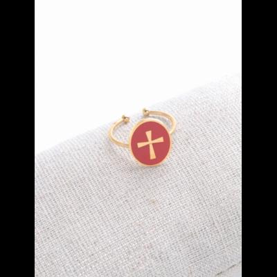 Bague réglable croix fond orange doré acier inoxydable - Milë Mila