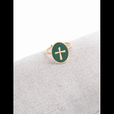 Bague réglable croix fond vert doré acier inoxydable - Milë Mila