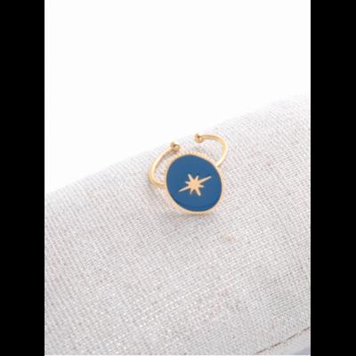 Bague réglable étoile filante fond bleu doré acier inoxydable - Milë Mila