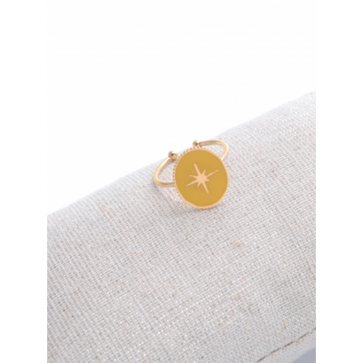 Bague réglable étoile filante fond jaune doré acier inoxydable - Milë Mila