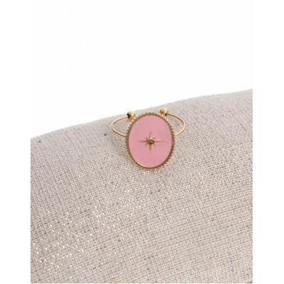 Bague réglable étoile filante fond rose doré acier inoxydable - Milë Mila