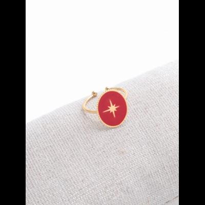Bague réglable étoile filante fond rouge doré acier inoxydable - Milë Mila