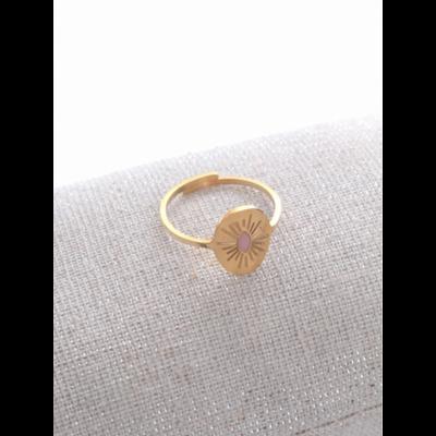 Bague réglable soleil gravé rose doré acier inoxydable - Milë Mila