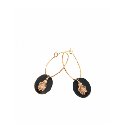 Boucles d'oreilles créole madone noir doré acier inoxydable Milë Mila