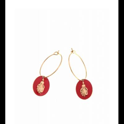 Boucles d'oreilles créole madone rouge doré acier inoxydable Milë Mila