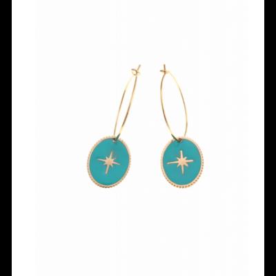 Boucles d'oreilles créole ovale étoile filante bleu doré acier inoxydable Milë Mila
