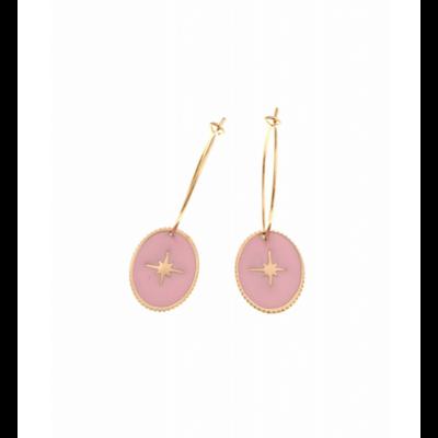 Boucles d'oreilles créole ovale étoile filante rose doré acier inoxydable Milë Mila
