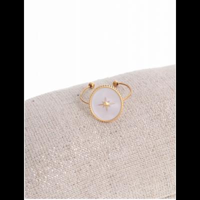 Bague réglable étoile filante fond blanc doré acier inoxydable - Milë Mila