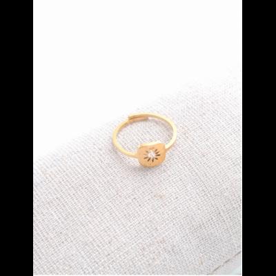 Bague réglable étoile dans grand cercle doré acier inoxydable - Milë Mila