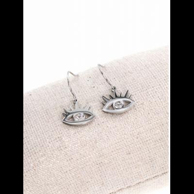 Boucles d'oreilles crochets œil argent acier inoxydable Mile Mila