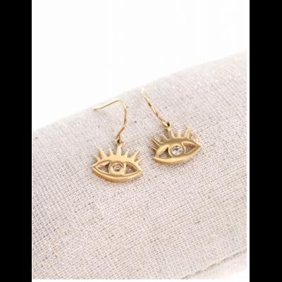 Boucles d'oreilles crochets œil doré acier inoxydable Mile Mila