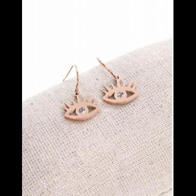 Boucles d'oreilles crochets œil or rose acier inoxydable Mile Mila