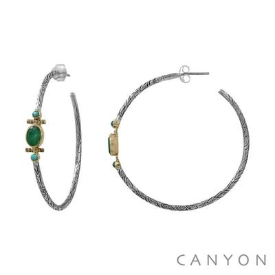Boucles d'oreilles créoles en argent gravé sillimante verte et de 2 perles de turquoise - Canyon