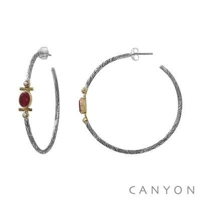 Boucles d'oreilles créoles en argent gravé sillimante rouge et de 2 perles blanches - Canyon