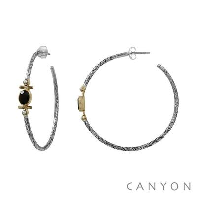 Boucles d'oreilles créoles en argent gravé onyx noir et de 2 perles blanches - Canyon