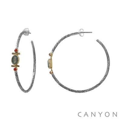 Boucles d'oreilles créoles en argent gravé quartz fraise et 2 perles blanches synthétiques - Canyon